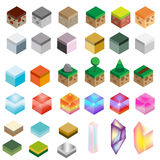 Game assets. Isometric texture bricks and magic crystals. Landscape, rock, water, magic design elements for gaming interface Royalty Free Stock Photography