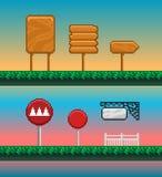 Game assets, pixel art GUI. Game assets, pixel art GUI for mobile or computer game design vector illustration