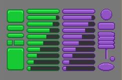 Game assets, pixel art GUI. Game assets, pixel art GUI for mobile or computer game design stock illustration