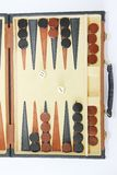 Game backgammon on a board with dices and checkers. Game backgammon on board with dices and checkers stock photography