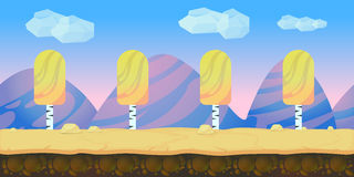Game background 2d  application. Vector design. Tileable horizontally. Size 1024x512. Ready for parallax effect Stock Images