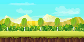 Game background 2d  application. Vector design. Tileable horizontally. Size 1024x512. Ready for parallax effect Royalty Free Stock Images