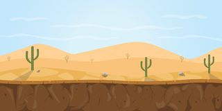 Game background desert sahara illustration with cactus tree and blue sky. Vector graphic illustration Stock Photography
