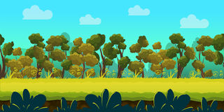 Game background with forest and green foreground, vector. Stock Photo