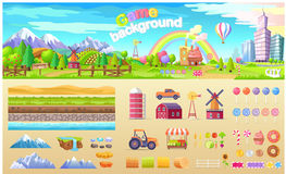 Game Background Set of Urban Playground Structure Stock Photos