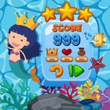 Game background template with mermaid underwater. Illustration Stock Photography