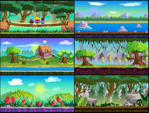 Game background Vector set. Game Asset ,Cartoon Game Backgrounds Set for 2d game application. Vector design Royalty Free Stock Images