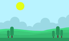 Game backgrounds landscape at morning. Vector art Stock Photo