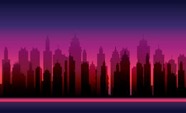 Game Backgrounds. Vector silhouette of the modern city. Abstract city template Stock Image