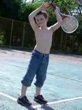 Game of badminton. Boy a game of badminton 02 Stock Photos