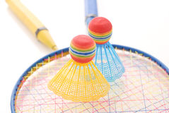 Game of Badminton. With Racket And Two Birdies Stock Photography