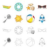 A game of badminton, a ball and the sun.Summer vacation set collection icons in cartoon,outline style vector symbol. Stock illustration Royalty Free Stock Image