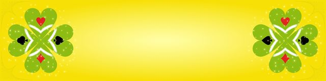 Game banner. Banner with two clovers on yellow background with card suit on leaves Royalty Free Stock Image