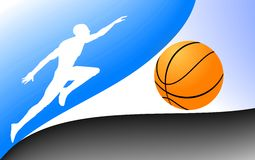 Game basketball. Vector figure of the basketball player with a multi-coloured background royalty free illustration