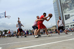 Game basketball moment. Streetball Royalty Free Stock Images