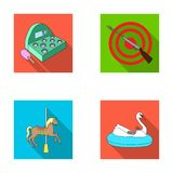 A game with a bat, a target with a gun, a horse on a carousel, a swan attraction. Amusement park set collection icons in Royalty Free Stock Photo