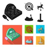 A game with a bat, a target with a gun, a horse on a carousel, a swan attraction. Amusement park set collection icons in. Black, flat style vector symbol stock stock illustration
