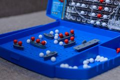 Game-battleship closeup. Toy warships and submarine are placed on the playing field. concept-strategy, thinking, victory, defeat. Game-sea battle closeup. Toy royalty free stock photos
