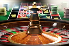 The game begins. 3D illustration of spinning roulette Royalty Free Stock Image