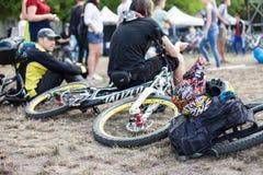 Game Bicycle festival on international festival of custom cultur. Kyiv city, Ukraine - September 10, 2016 : Game competition, Bicycle festival on international Stock Photo