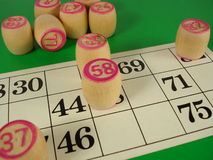 Game of bingo. On a green background Royalty Free Stock Images