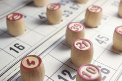 The game of bingo. Kegs and cards for a game of loto. Close-up Royalty Free Stock Photo