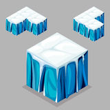 Game block Isometric Cubes,  iceberg glacier. 3D Isometric Landscape Cube - nature unending iceberg glacier Element. Icon Can be used for Game, Web, Mobile App Royalty Free Stock Photos