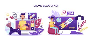 Game blogger video channel concept. Character play. Computer games and record screen on camera. Vector illustration in cartoon style stock illustration