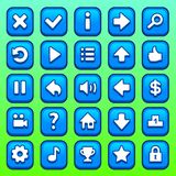 Game blue square buttons set Royalty Free Stock Image