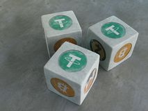 Game bones with the image of crypto currency. Playing dice for c. Tether. Game bones with the image of crypto currency. Playing dice for crypto currency. 3d Stock Photo