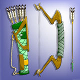 Game bow, arrow and quiver. Royalty Free Stock Photo