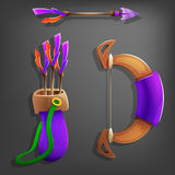 Game bow, arrow and quiver. Royalty Free Stock Photos