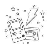 Game boy cassette and lighting black and white royalty free illustration