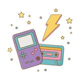 Game boy cassette and lighting royalty free illustration