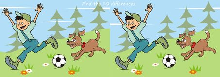 Game, boy and dog. Game for children, find ten differences. Boy and dog in nature. Playing with a soccer ball Royalty Free Stock Photos