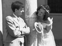 Game of bride and groom. B&W Stock Photography