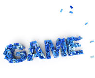 Game building block. 3D rendering of the word game made of plastic bricks royalty free illustration