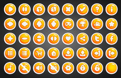 Game buttons in cartoon style. 2d game assets Royalty Free Stock Images