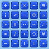 Game buttons. Collection of blue game button, icons, symbols Stock Images