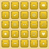 Game buttons. Collection of yellow game button, icons, symbols Royalty Free Stock Photos
