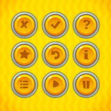 Game Buttons with Icons Set 2. Vector GUI elements for mobile games Royalty Free Stock Image