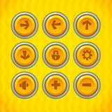 Game Buttons with Icons Set 1. Vector GUI elements for mobile games Royalty Free Stock Photography