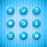Game Buttons with Icons Set 2. Vector GUI elements for mobile games Stock Image