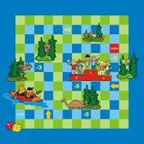 Game, canoeing. Board game for kids. Playing with dice and figurines Stock Photo