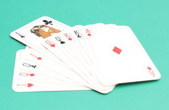 Game card on green background Royalty Free Stock Photography