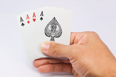 Game of cards with poker of aces Royalty Free Stock Images