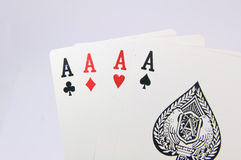 Game of cards with poker of aces Stock Photo
