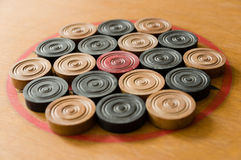 A game of carom set and ready to play Royalty Free Stock Photography