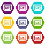 Game cartridge icon set color hexahedron Stock Images