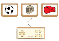 Game cartridges and gamepad Royalty Free Stock Image